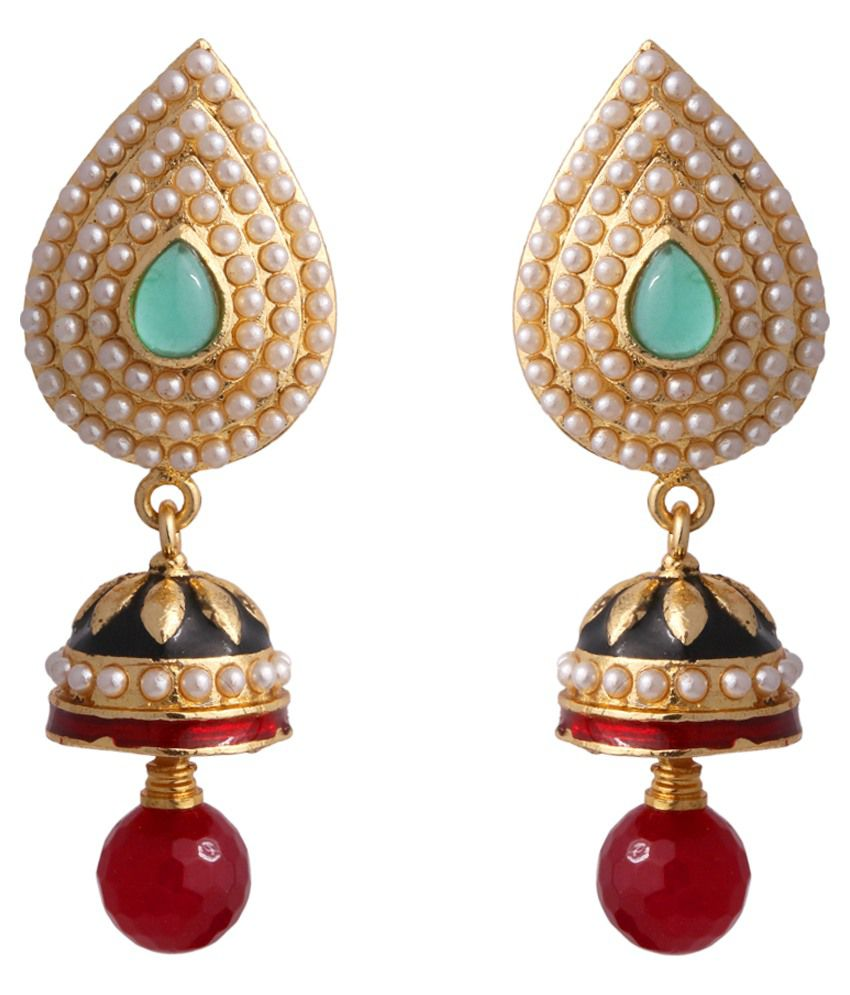 Abhijewels Brass Gold Plated Pearls Studded Multi Coloured Earrings