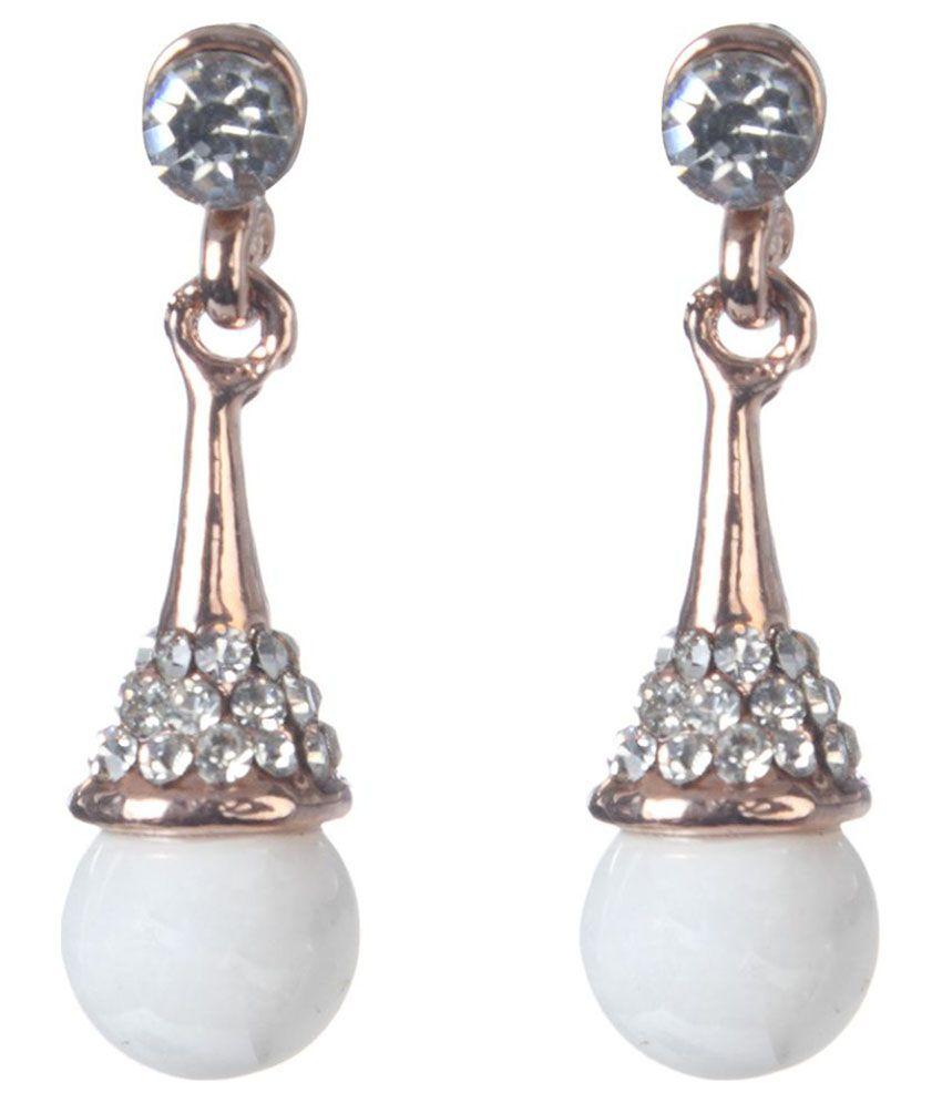 Kriaa Alloy Oxidised Stones Studded White Coloured Earrings