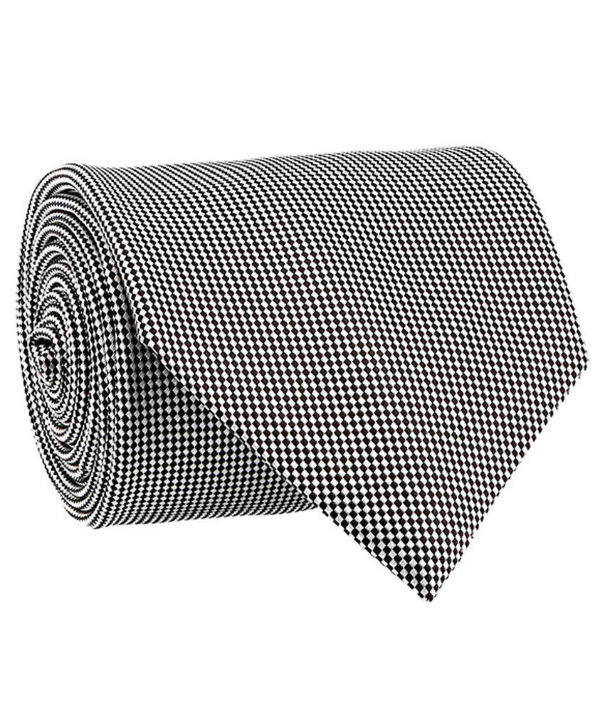 Milano X'Xssories Black and White Micro Fiber Broad Ties For Men