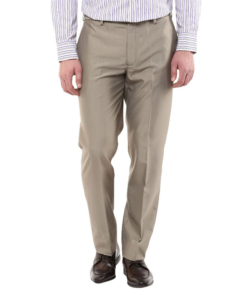Park Avenue Beige Slim Fit Flat Trousers
