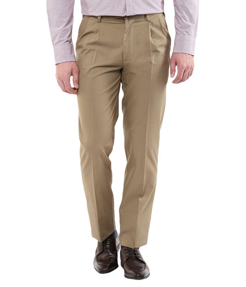 Park Avenue Khaki Slim Fit Pleated Trousers