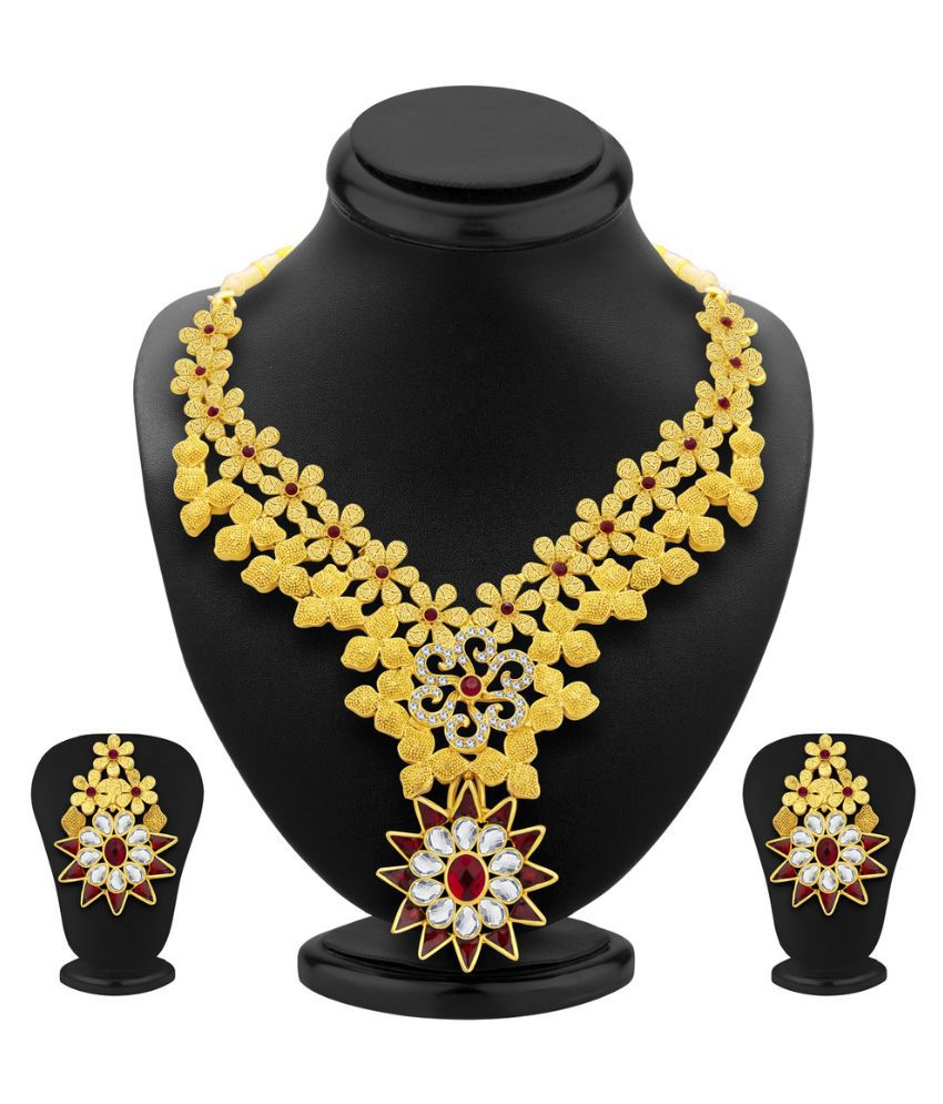 Sukkhi Alloy Gold Plating Studded Gold Coloured Necklaces Set