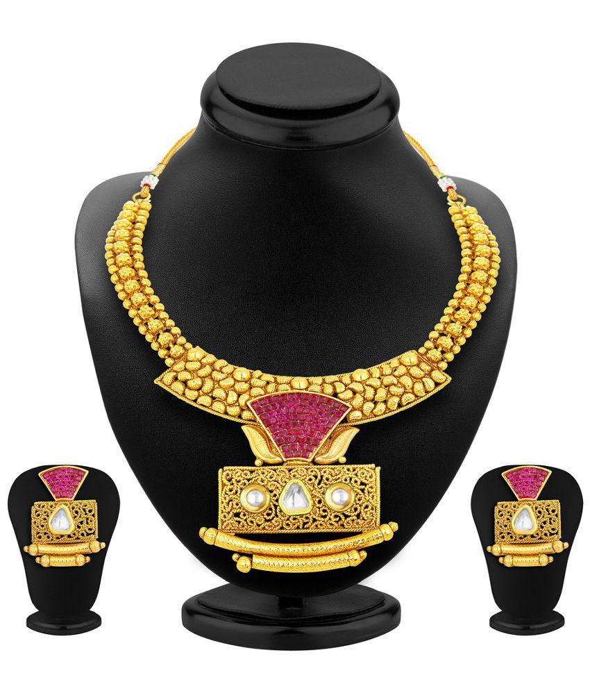 Sukkhi Alloy Gold Plating Studded Gold Coloured Necklaces Set