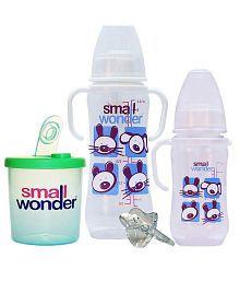 Small Wonder Multicolor Polypropylene 125 ml & 250 ml Bottle, Lsr Pacifier & 300 ml Milk Powder Dispenser Baby Feeding Set