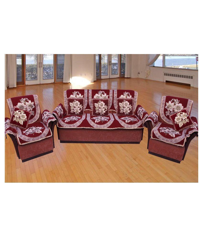 Furnishing Kingdom 5 Seater Velvet Set Of 10 Sofa Cover