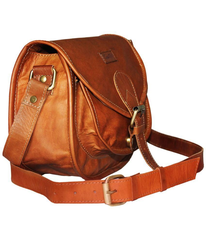 Goatter Brown Pure Leather Sling Bag - Buy Goatter Brown Pure ...