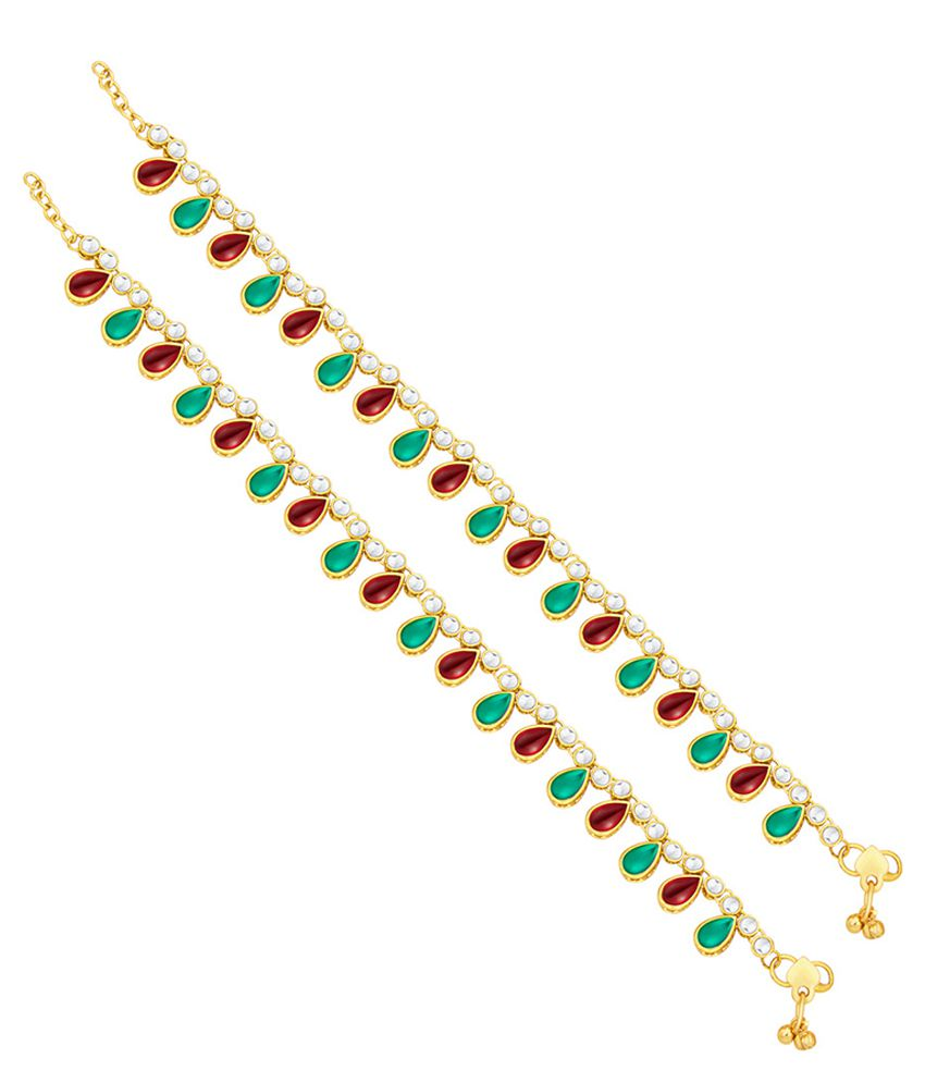 Sukkhi Alloy Gold Plating Studded Multi Coloured Pair Of Anklets