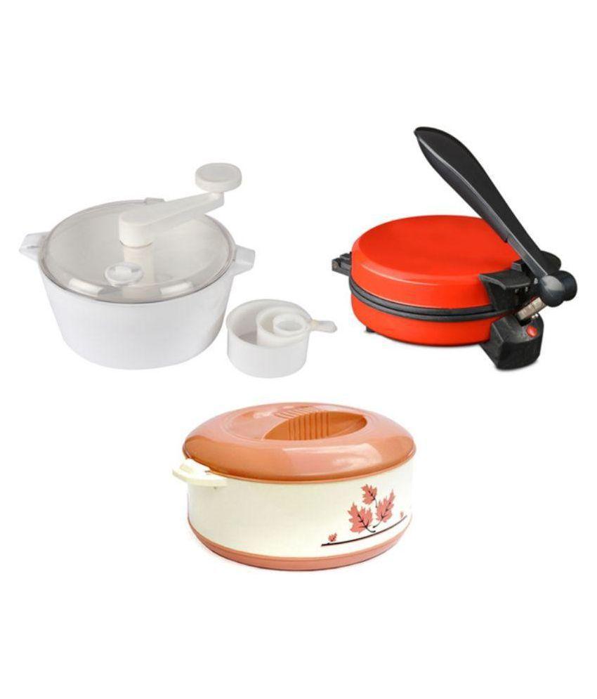 Zaisch Jumbo Detachable Handle Red Roti Maker with Multicolor Dough Maker & Casserole