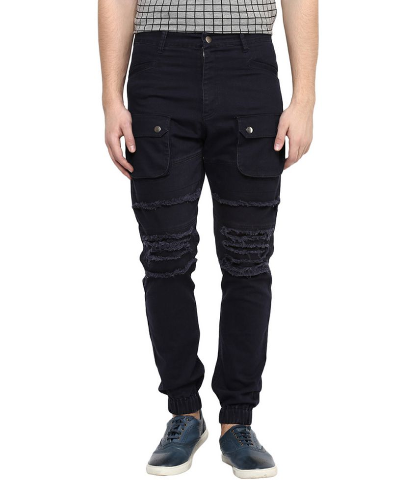 Hypernation Navy Regular Fit Cargos