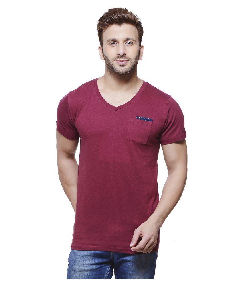 Monteil & Munero Maroon V-Neck T Shirt
