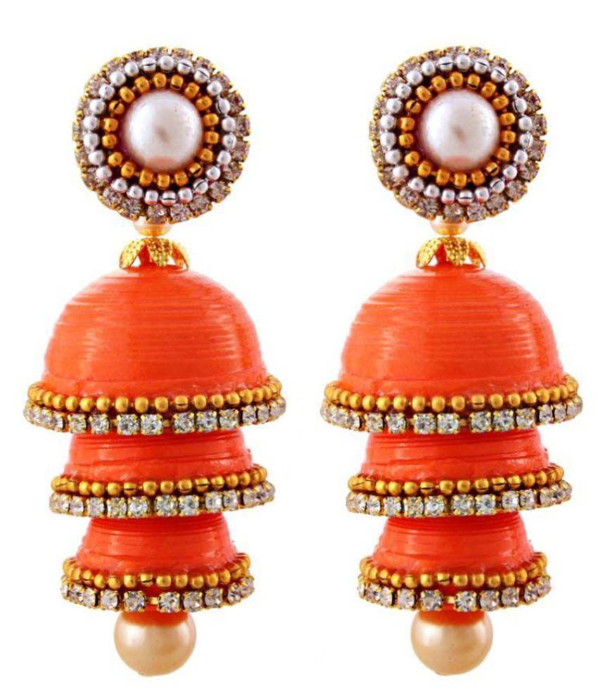 Yogya Mart Beads Studded Orange Coloured Earrings