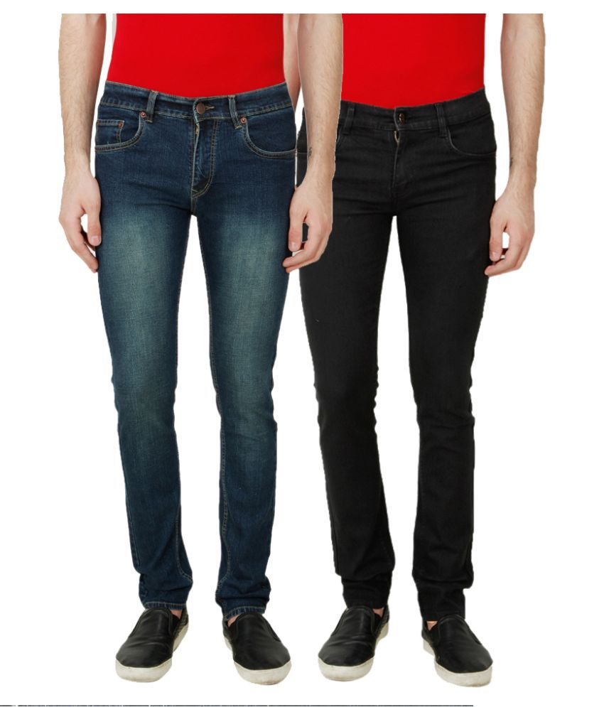 Ansh Fashion Wear Multi Regular Fit Faded Jeans Pack of 2