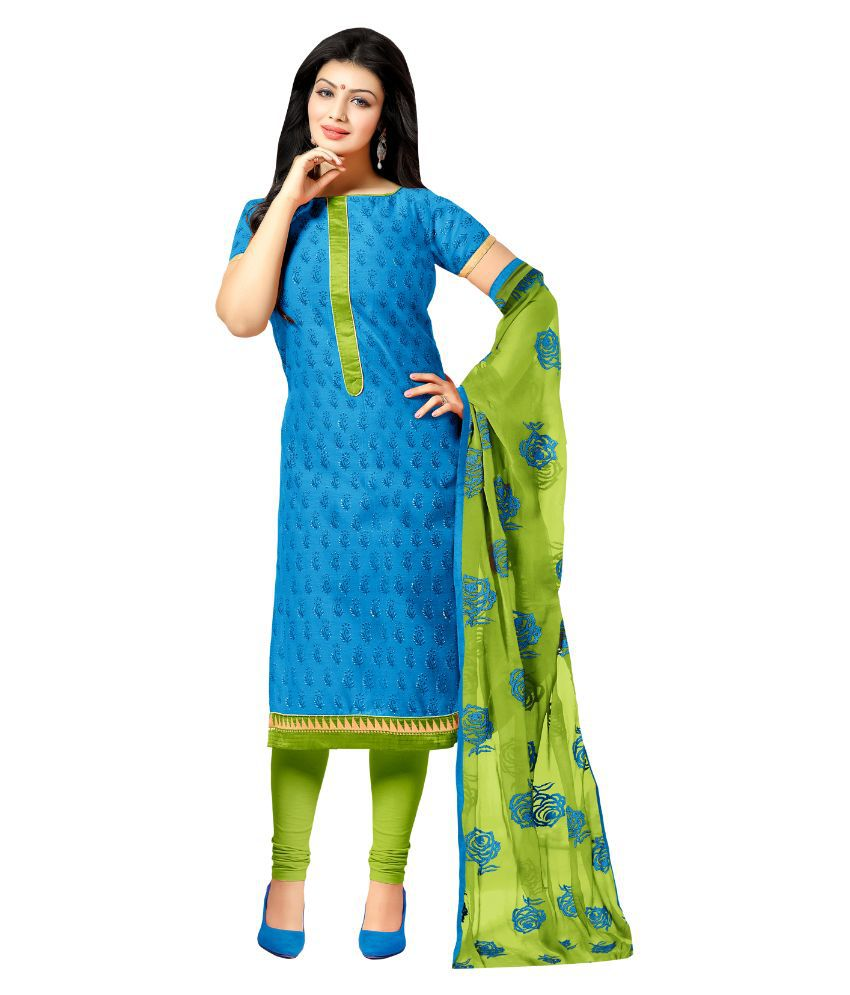Apple Creation Blue Chanderi Straight Unstitched Dress Material
