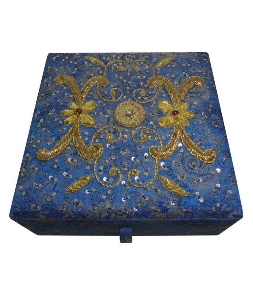 Avinash Handicrafts Wood Studded Blue Jewellery Box