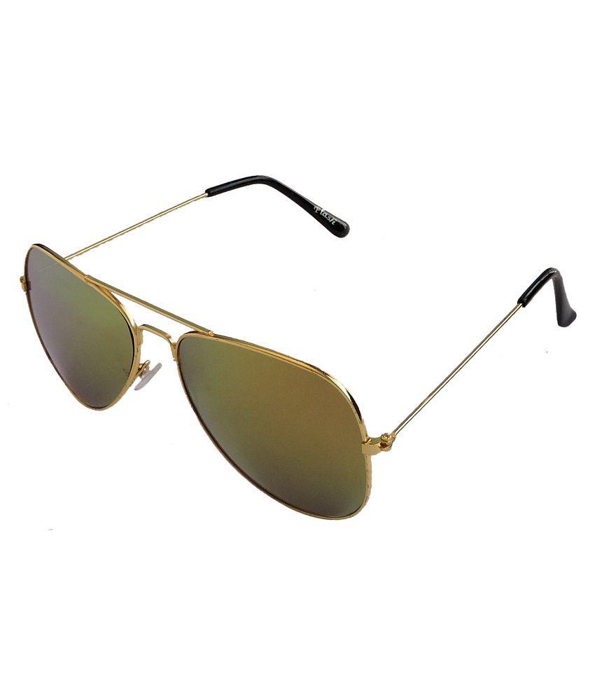 Flash Green Aviator Sunglasses ( 3025 )