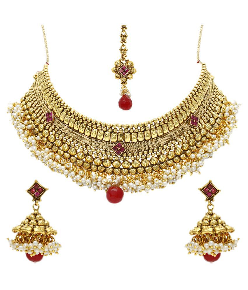 Jewels Galaxy Golden Alloy Necklaces Set with Maang Tika