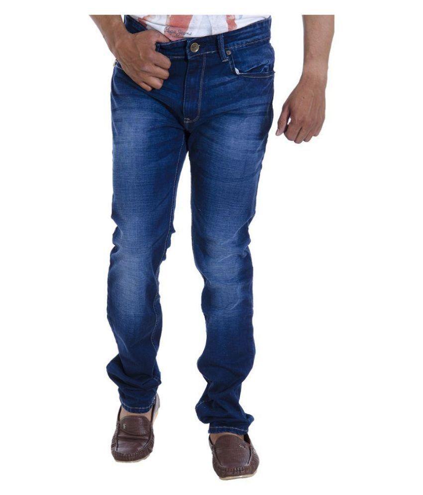 Spykar Blue Regular Fit Washed Jeans
