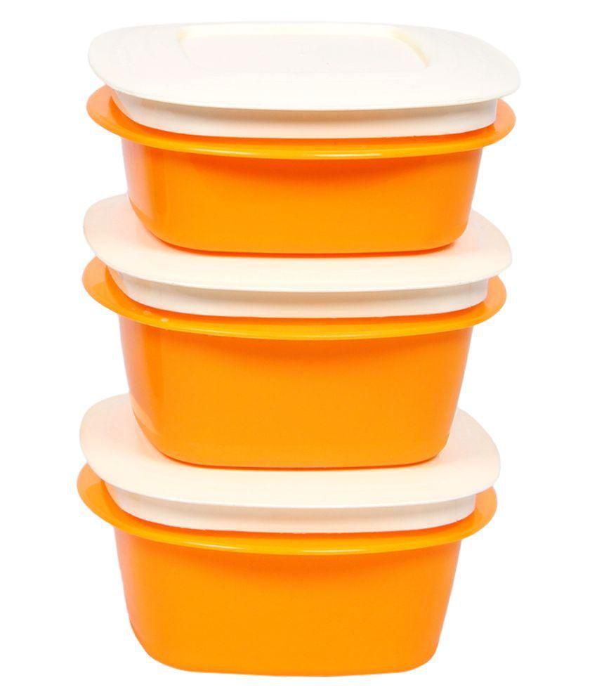 Cutting Edge Yellow and White Polypropylene Containers - Pack of 3