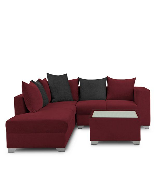 Sofa Centre Table: S K Furniture Mestler Maroon Sofa Set With Center Table