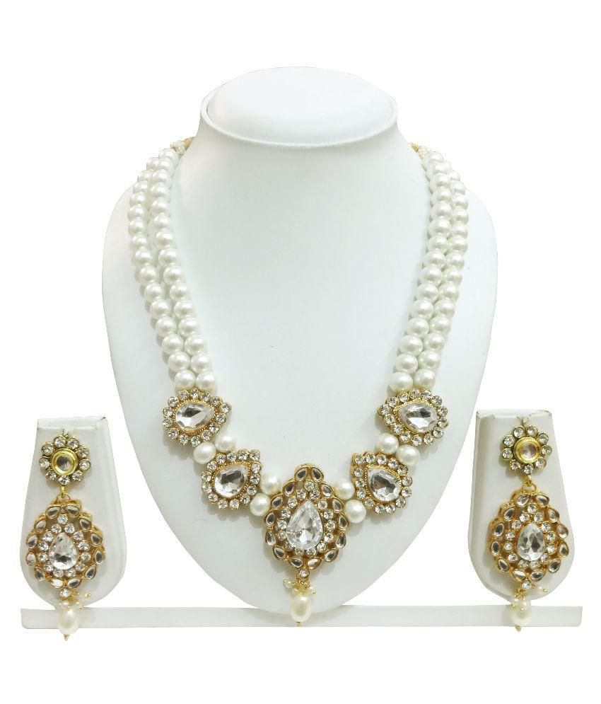 Arts Chetan Golden Pearls Alloy Necklace Set