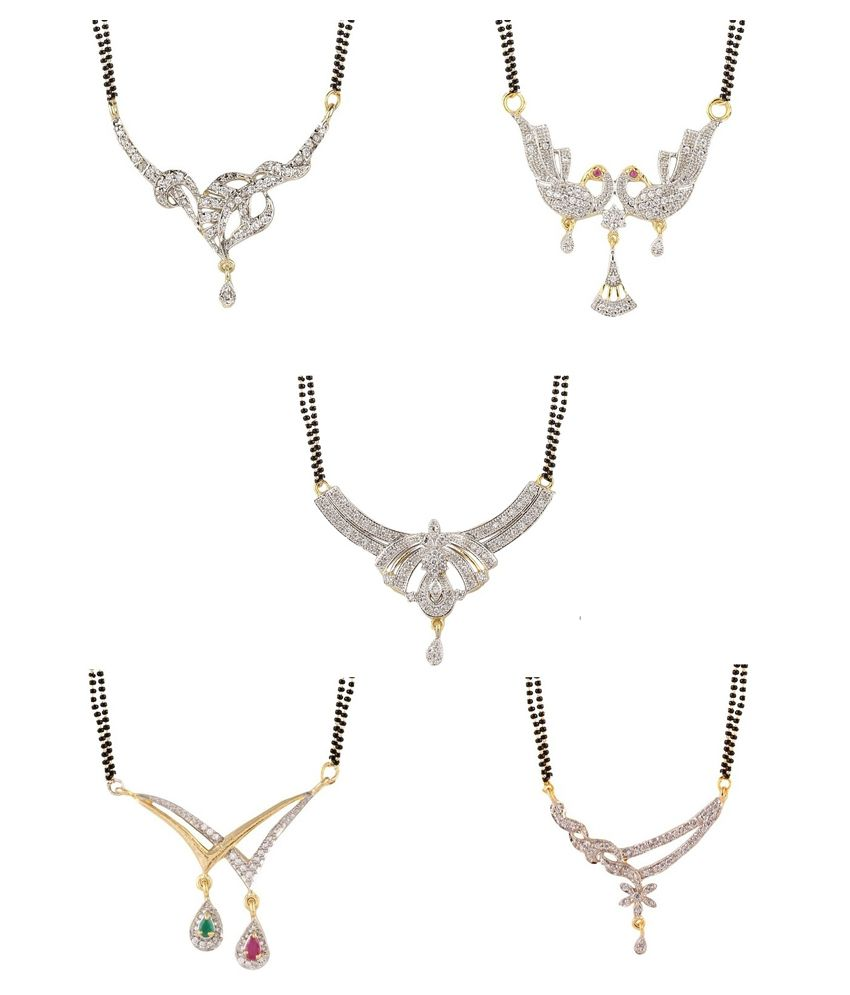 Youbella Alloy Gold Plating American diamonds Studded Silver Coloured Mangalsutra - Set of 5