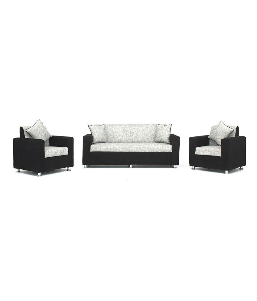 Bls Tulip Black Grey 3 1 1 Sofa Set Buy Bls Tulip Black