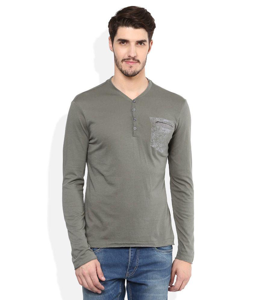 GAS Green Henley Neck T Shirt