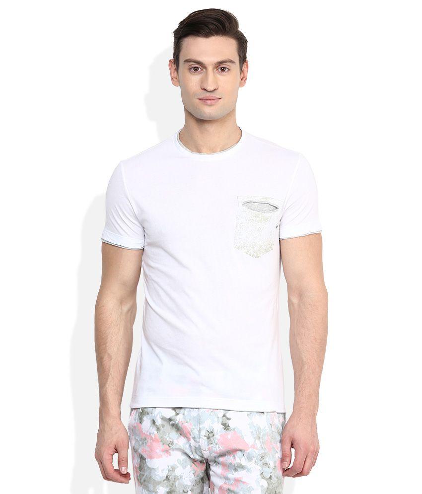 GAS White Round Neck T Shirt