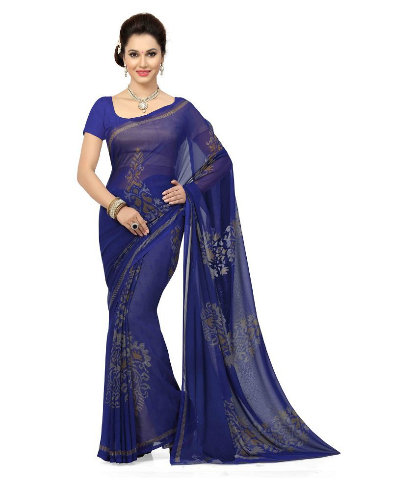 Minimum 50% Off on Ethnic Wear | ISHIN Blue Georgette Saree By Snapdeal @ Rs.499