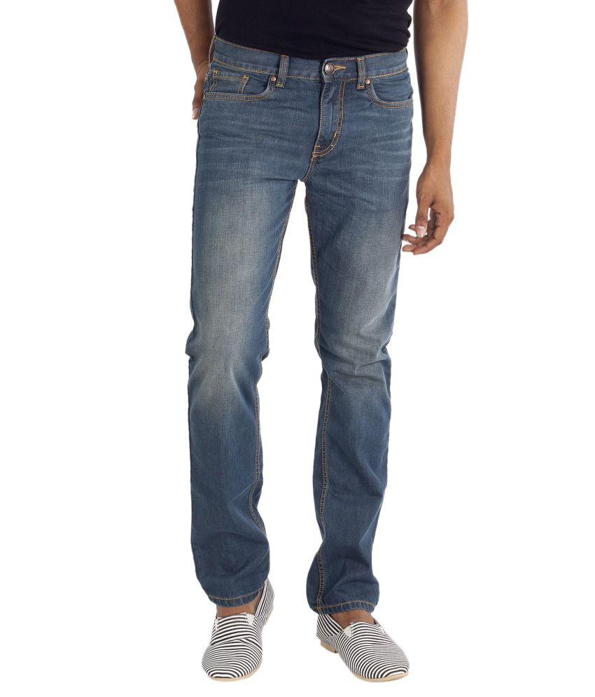 VUDU Blue Slim Fit Faded Jeans