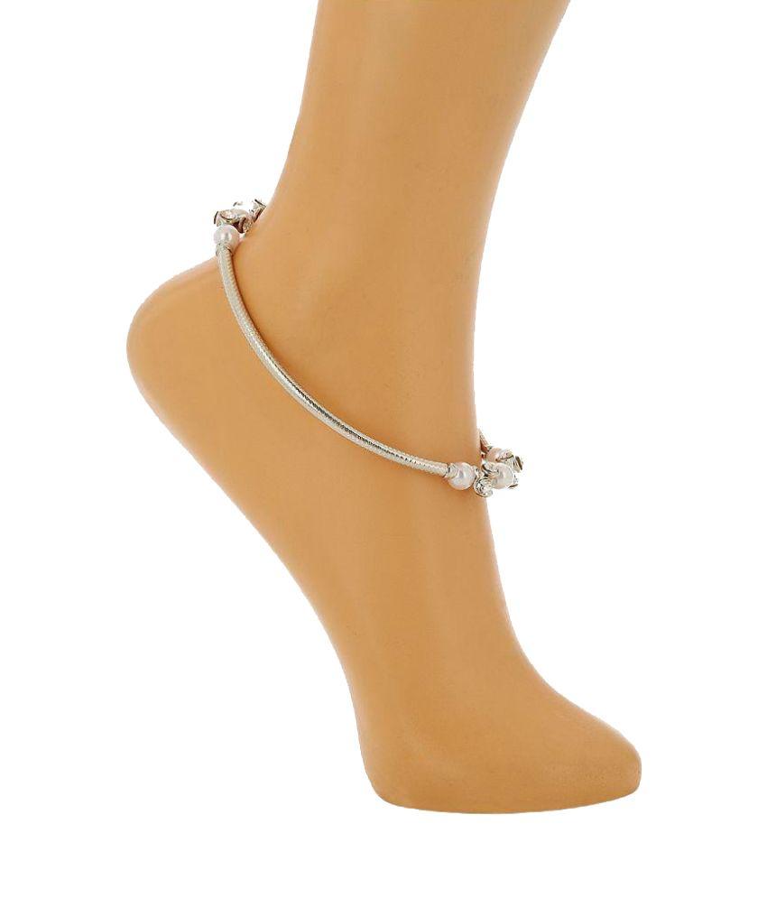 Prita Silver Alloy Polki Anklets - Pair of 2