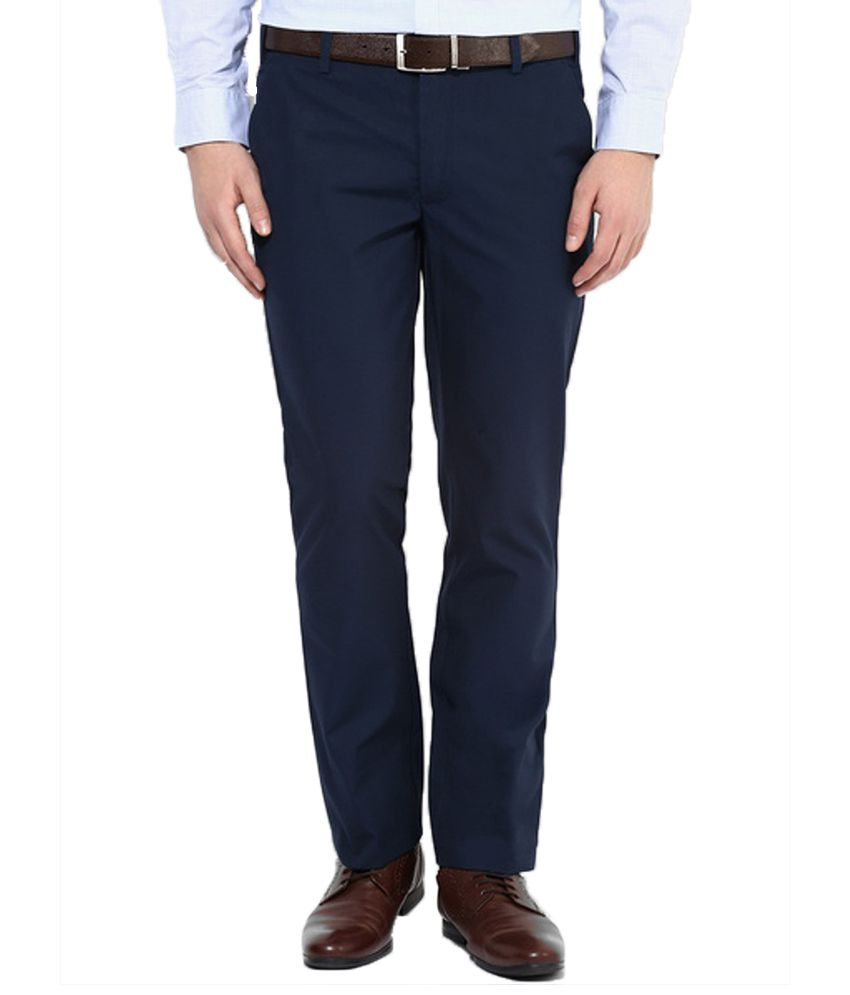 Zaire Navy Regular Fit Flat Trousers