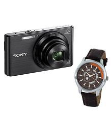 Sony W830 Digital Camera - Black With D'Signer Watch