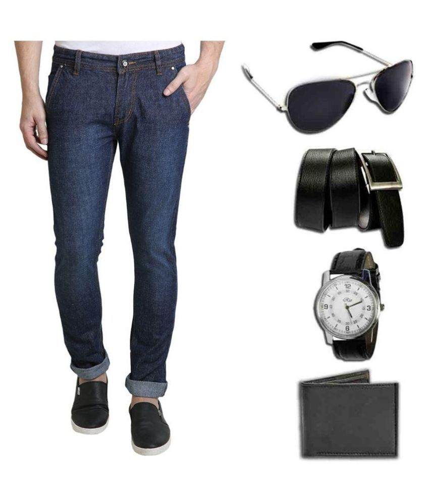 Denim Cafe Blue Slim Fit Solid Jeans With Watch ,Sunglasses ,Wallet and Belt