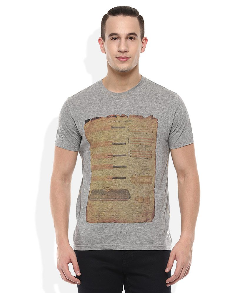Indian Terrain Grey Round Neck T Shirt