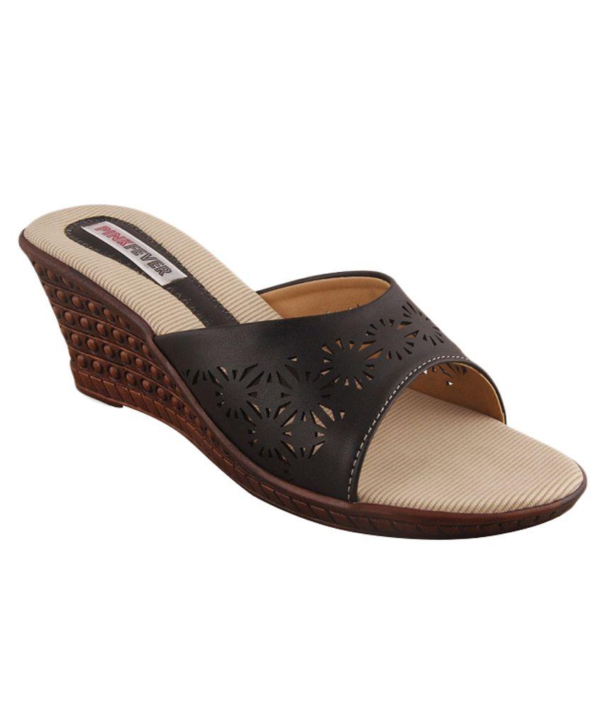 Pink Fever Brown Wedges Heels