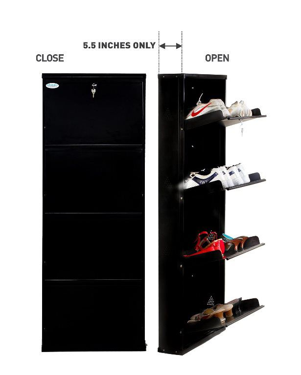 Shoe rack 4 shelf-Metal Stand-design with centralized lock by Prab