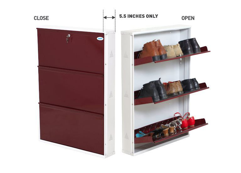 Prab-Maroon-Natural-Finish-Foldable-Space-Saving-Shoe-Rack