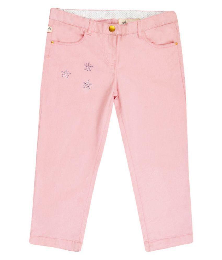 Aristot Pink Cotton Spandex Capris for kids girls