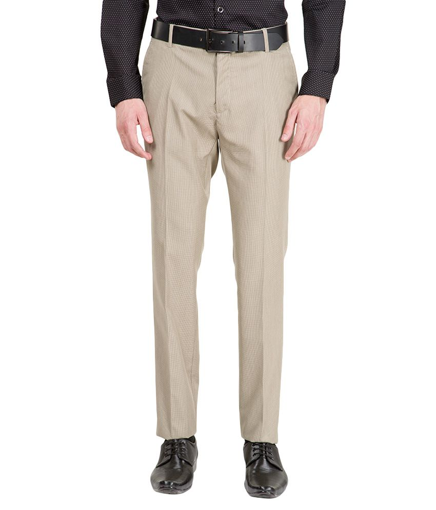 Black Coffee Beige Slim Fit Flat Trousers