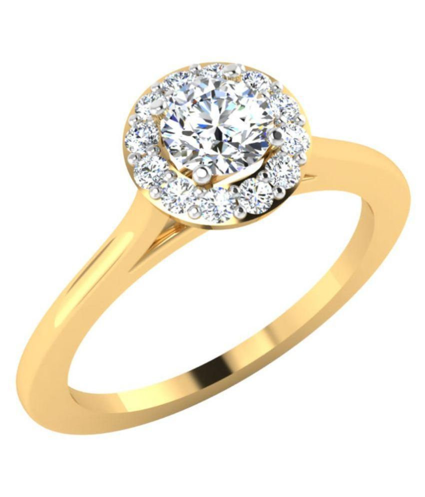 Carat Forever 14Kt Yellow Gold and Diamond BIS Hallmarked Solitaire Ring