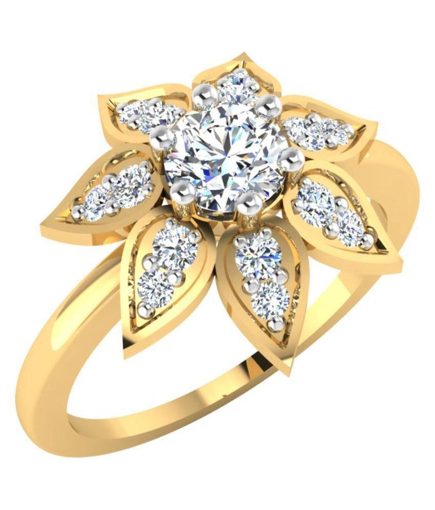 Carat Forever 14 K Gold with Solitaire Diamond Ring