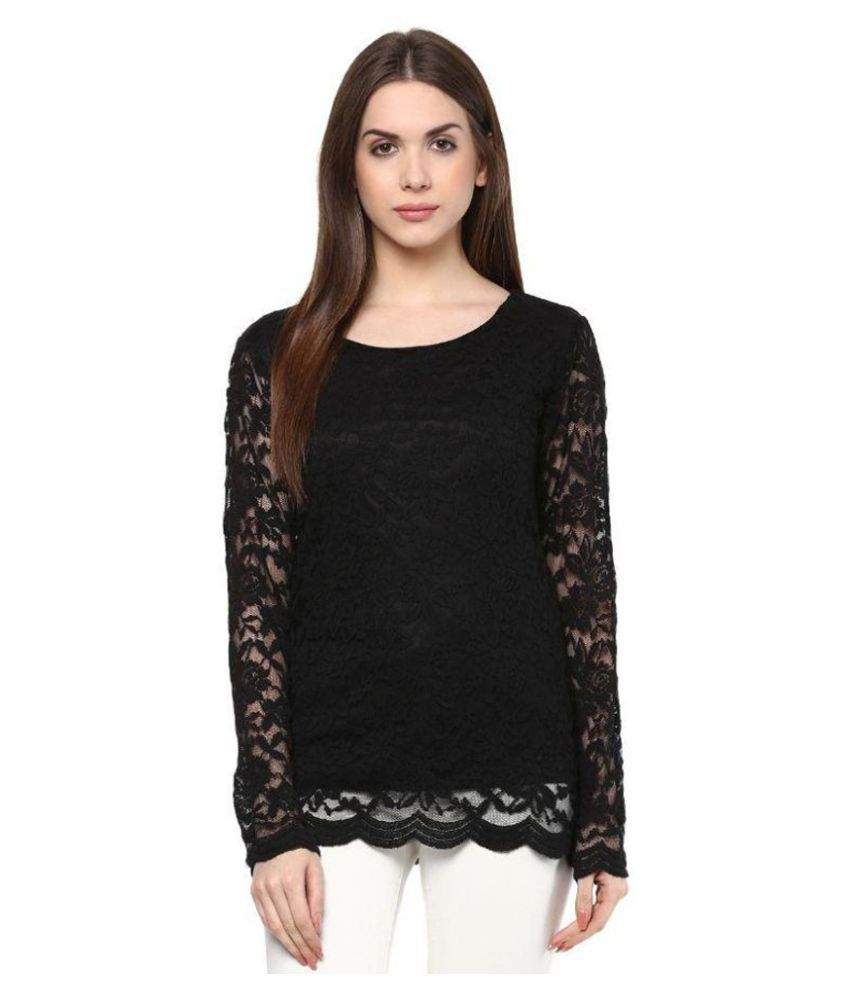14b2c4ed57 Color Cocktail Black Lace Tops - Buy Color Cocktail Black Lace Tops Online  at Best Prices in India on Snapdeal
