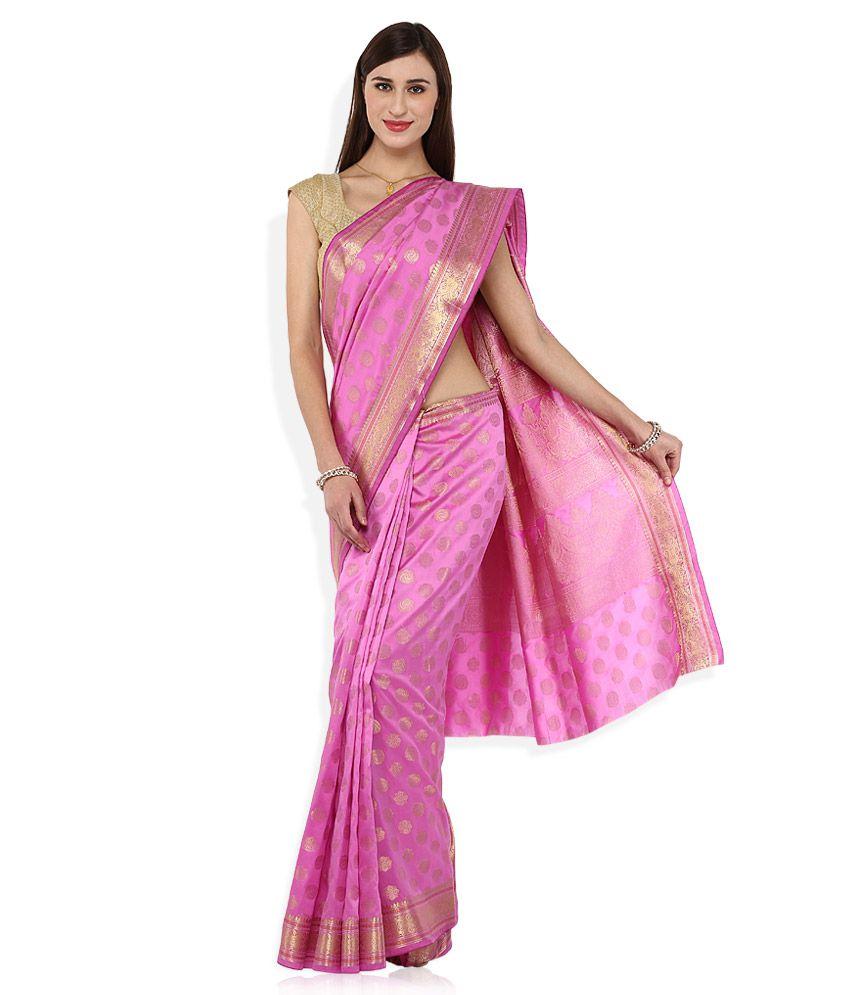 EONN DESIGNERS Pink Kanchipuram Art  Silk Saree With Blouse Piece
