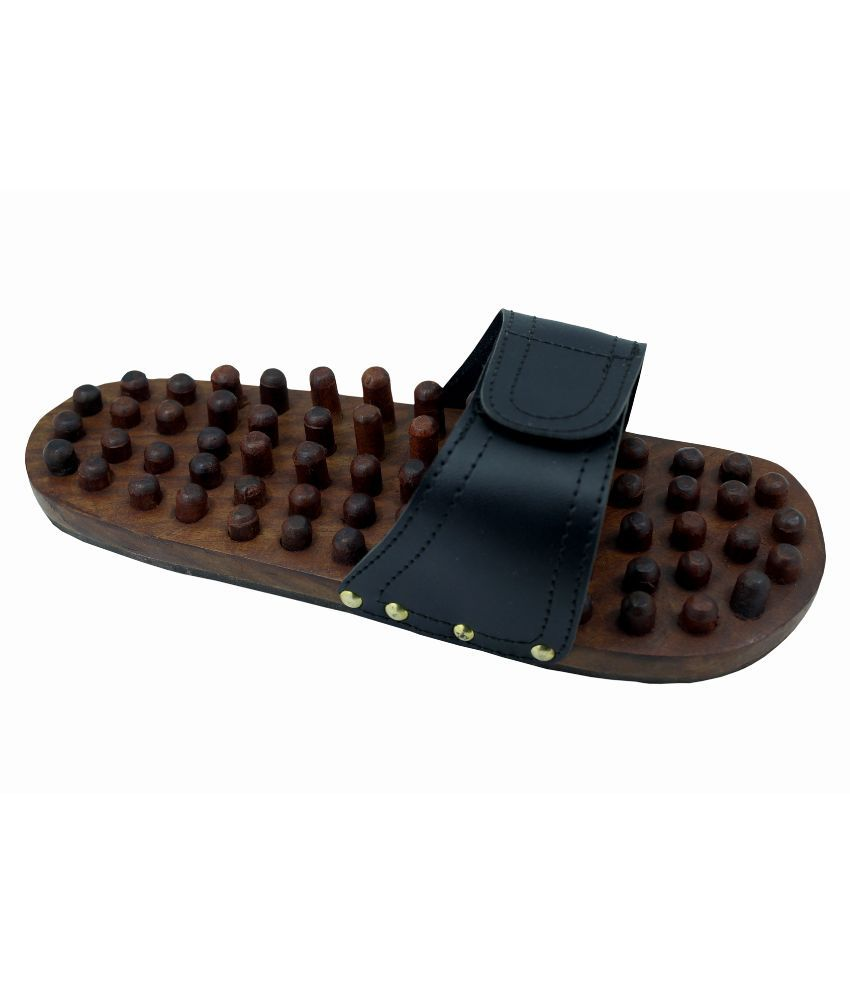 Frabjous Brown Wooden Acupressure Slippers: Buy Frabjous ...