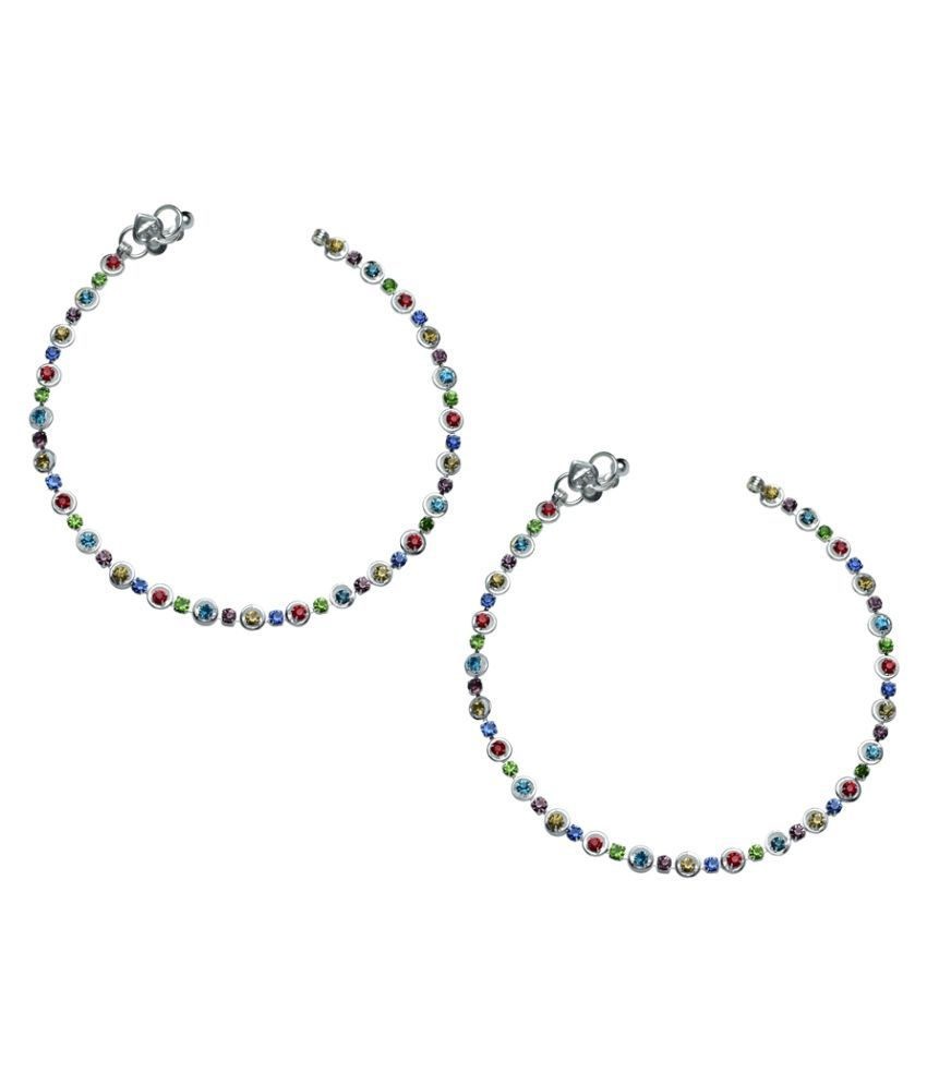 High Trendz Alloy Silver Plating American diamonds Studded Multi Coloured Pair Of Anklets