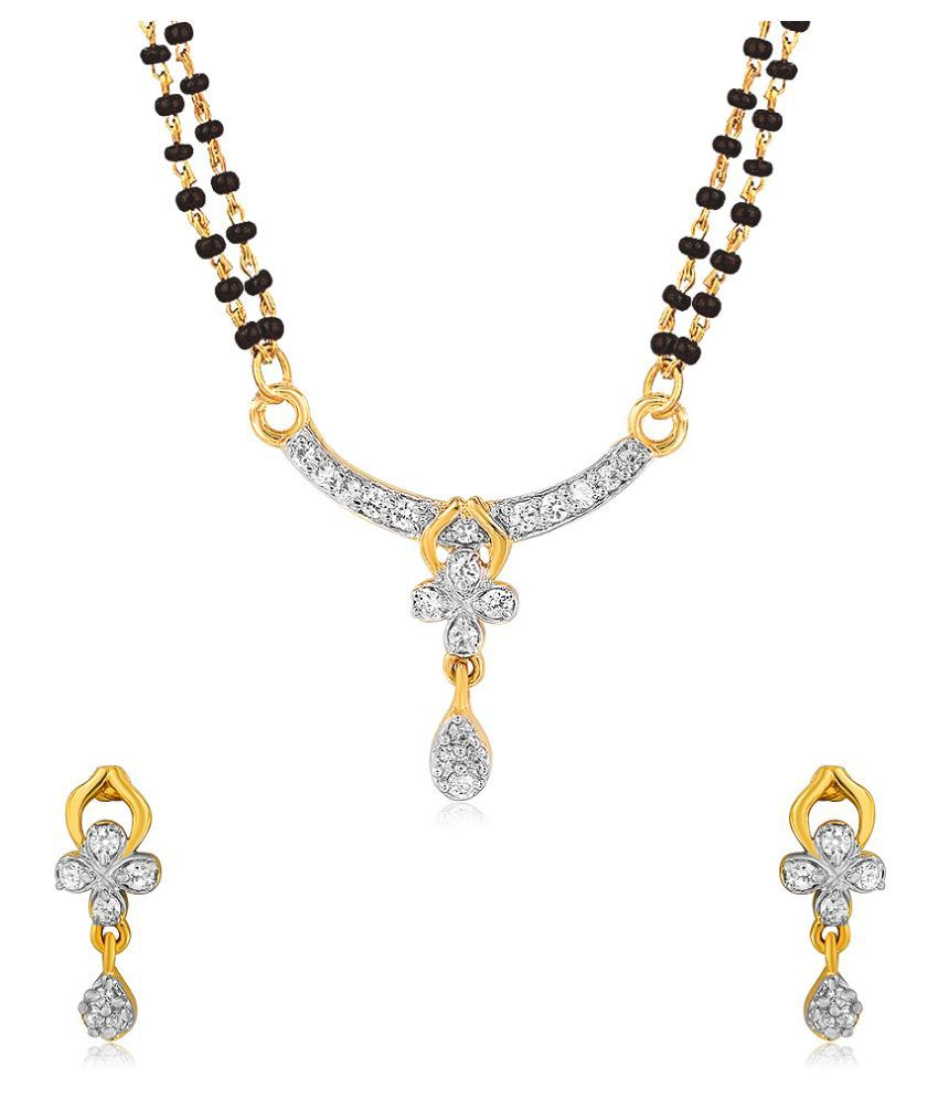Mahi Brass 24 kt Gold Plating Cubiz Zirconia Studded Gold Coloured Mangalsutra Set