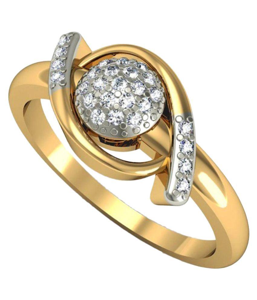 Rasav Jewels Golden BIS Hallmarked 14kt Gold Studded Diamond Ring