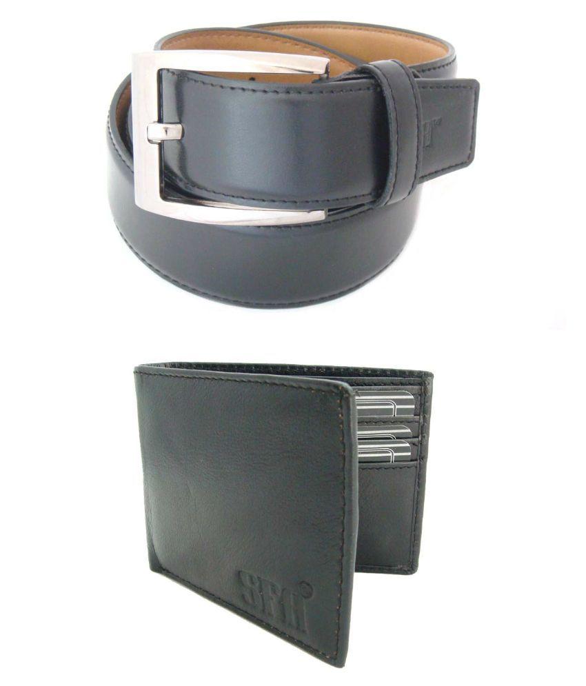 SFA Black Formal Belt With Wallet for Men