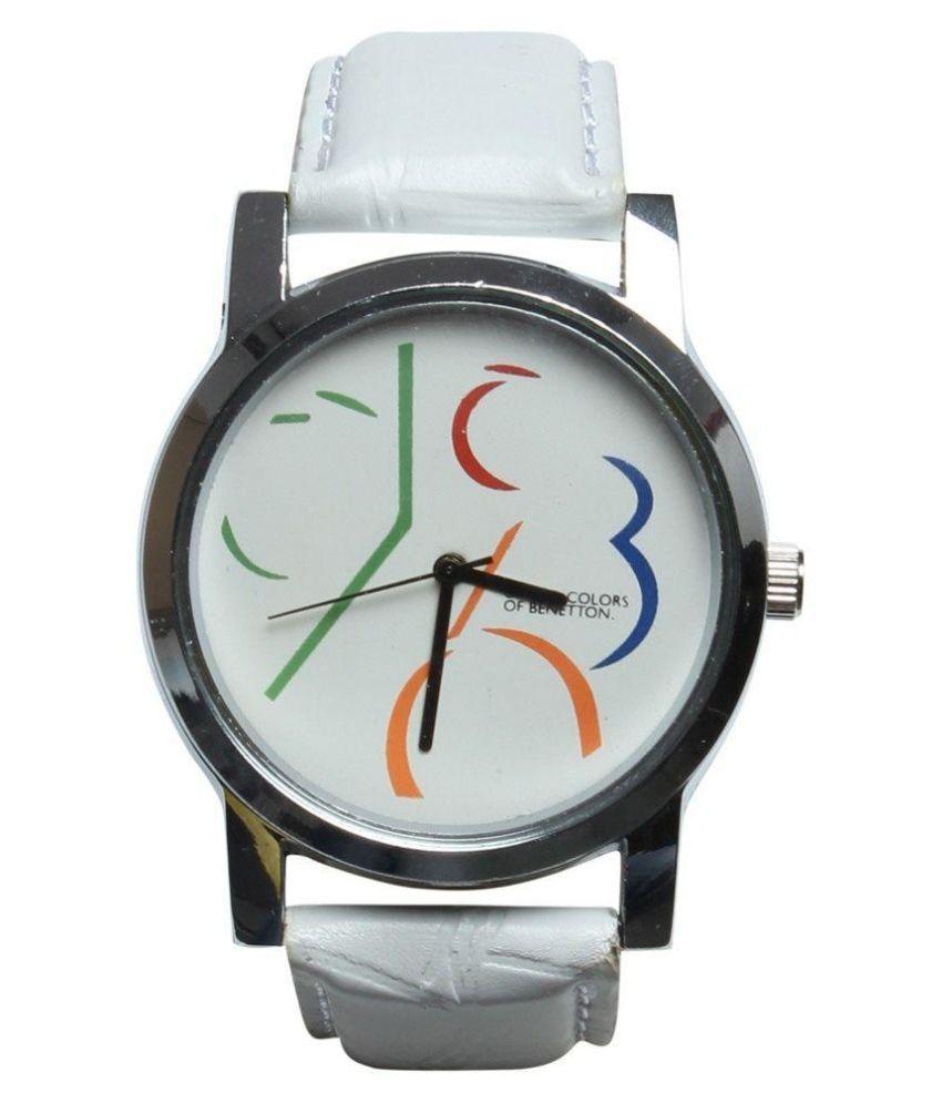 Benetton white leather analog watch for men buy benetton white leather analog watch for men for Benetton watches